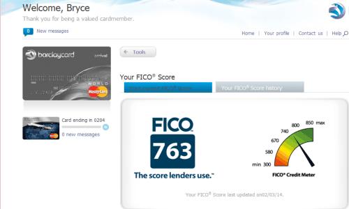 Bryce's FICO Score