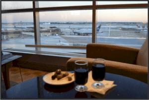 Free Flight to Paris at Bar in Airport