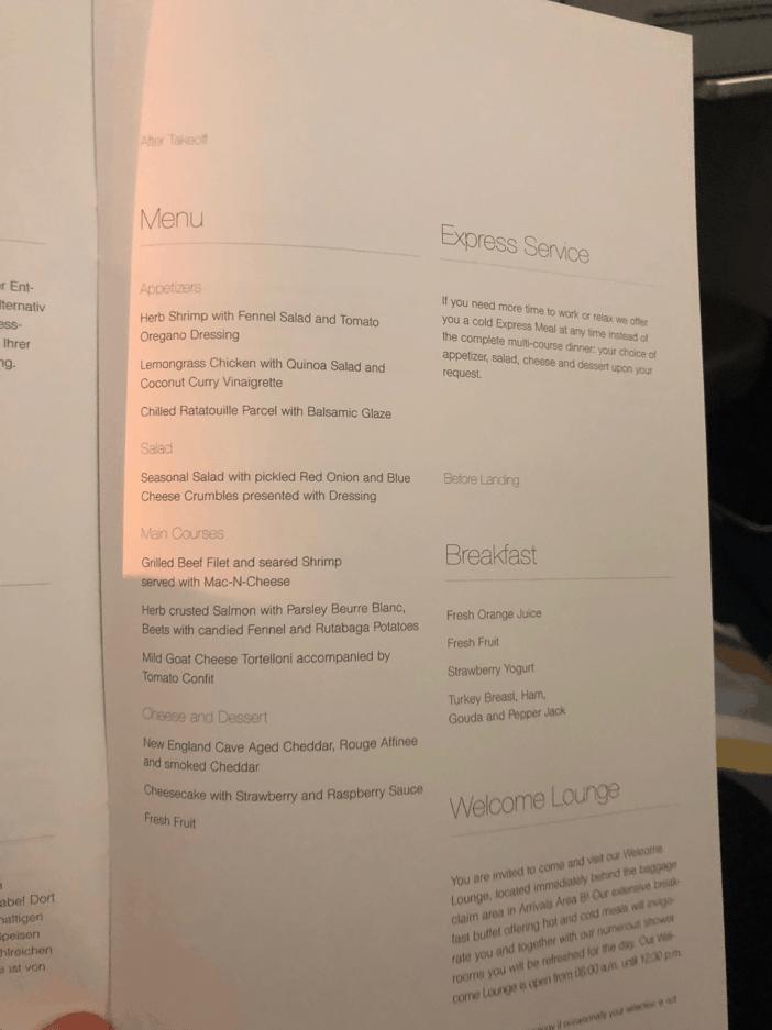 Lufthansa Business Class Menu 2