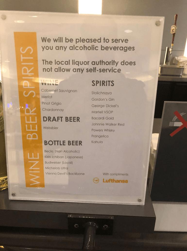 Lufthansa Business Lounge Bar Sign 2