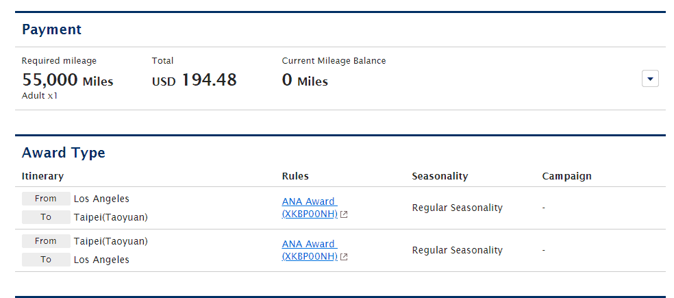 ANA Required Mileage from LAX to TPE