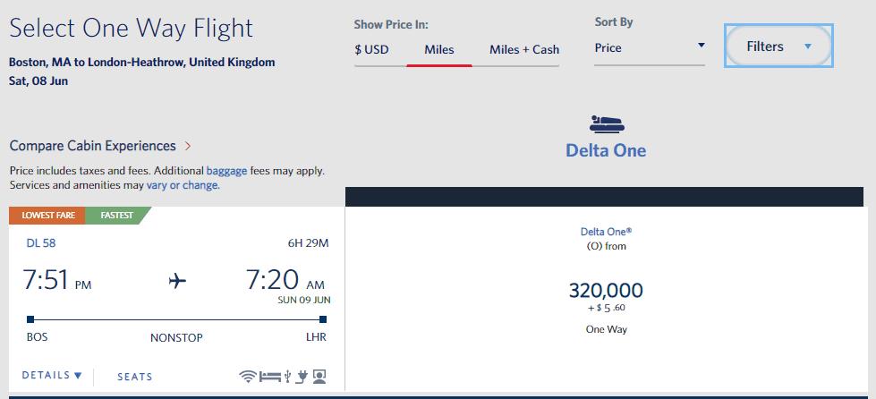 Delta BOS LHR DL