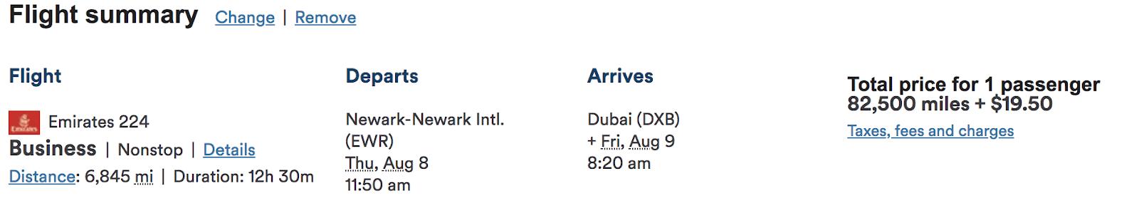 Alaska Emirates flight summary