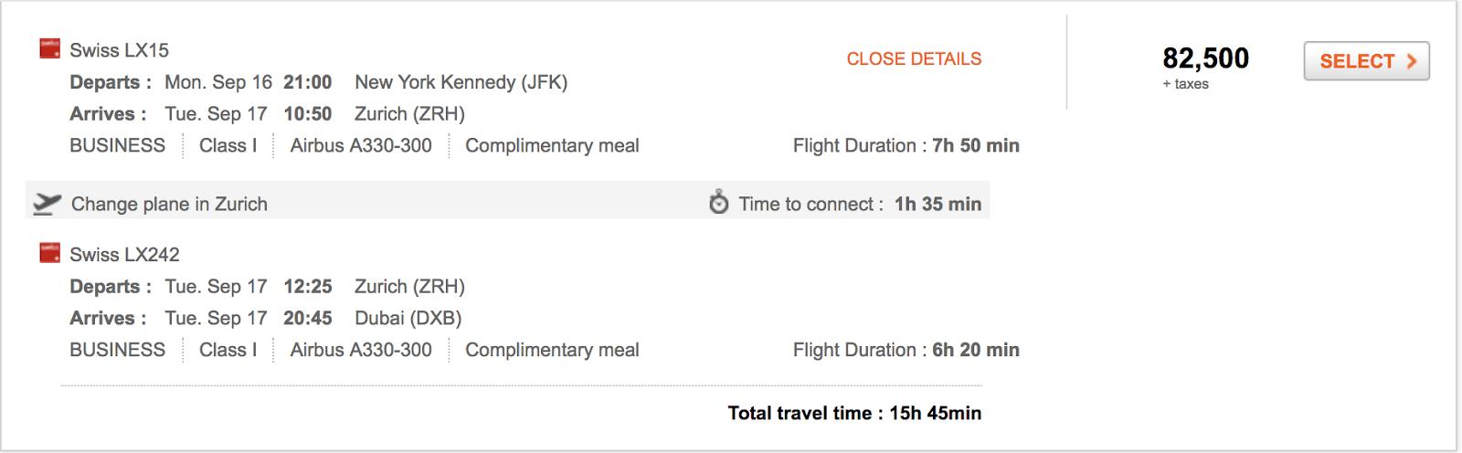 SWISS to Dubai with Aeroplan