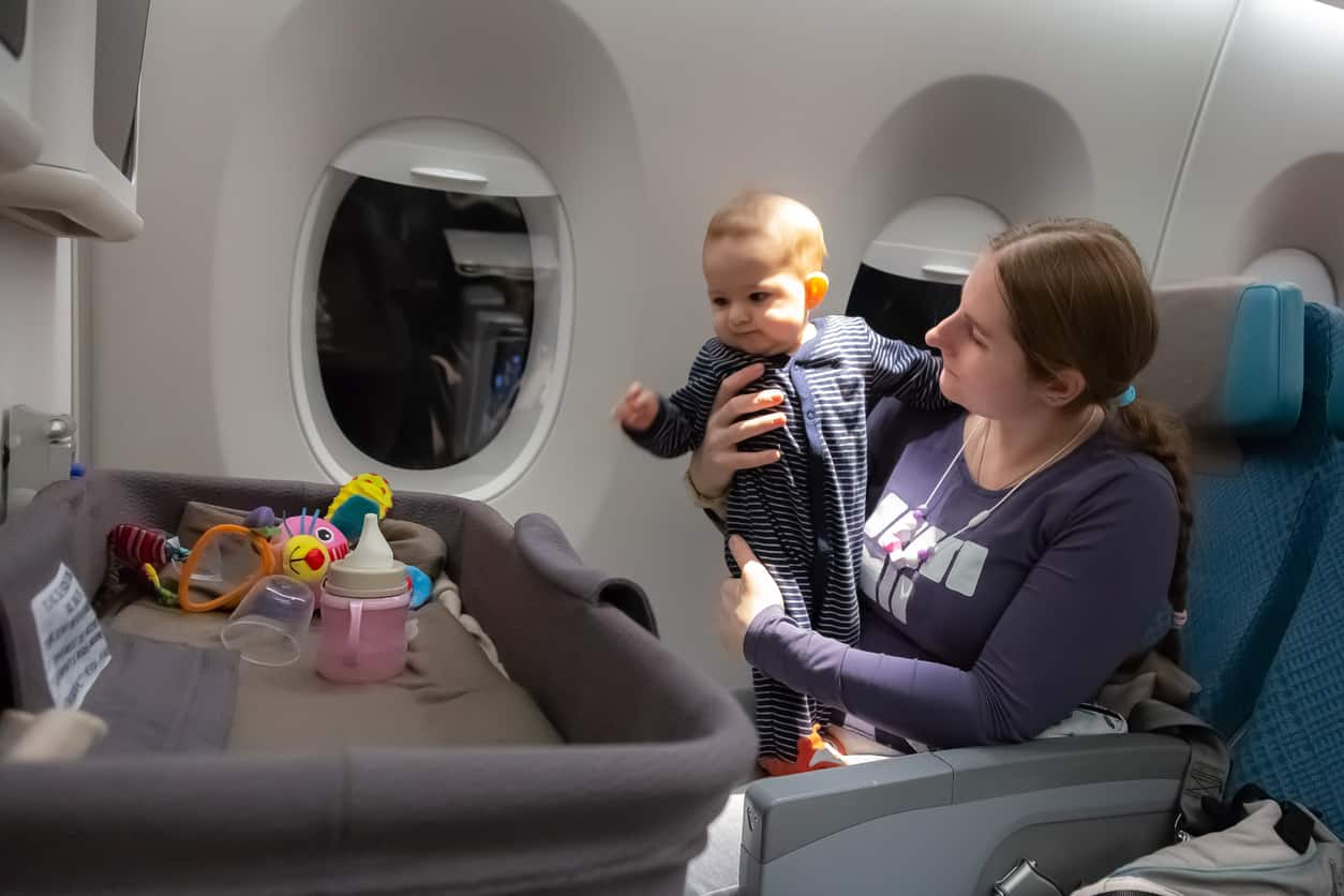 special baby bassinet during the flight for lap infant