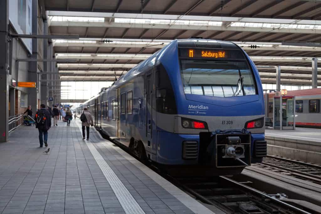 train at Munich main railway station