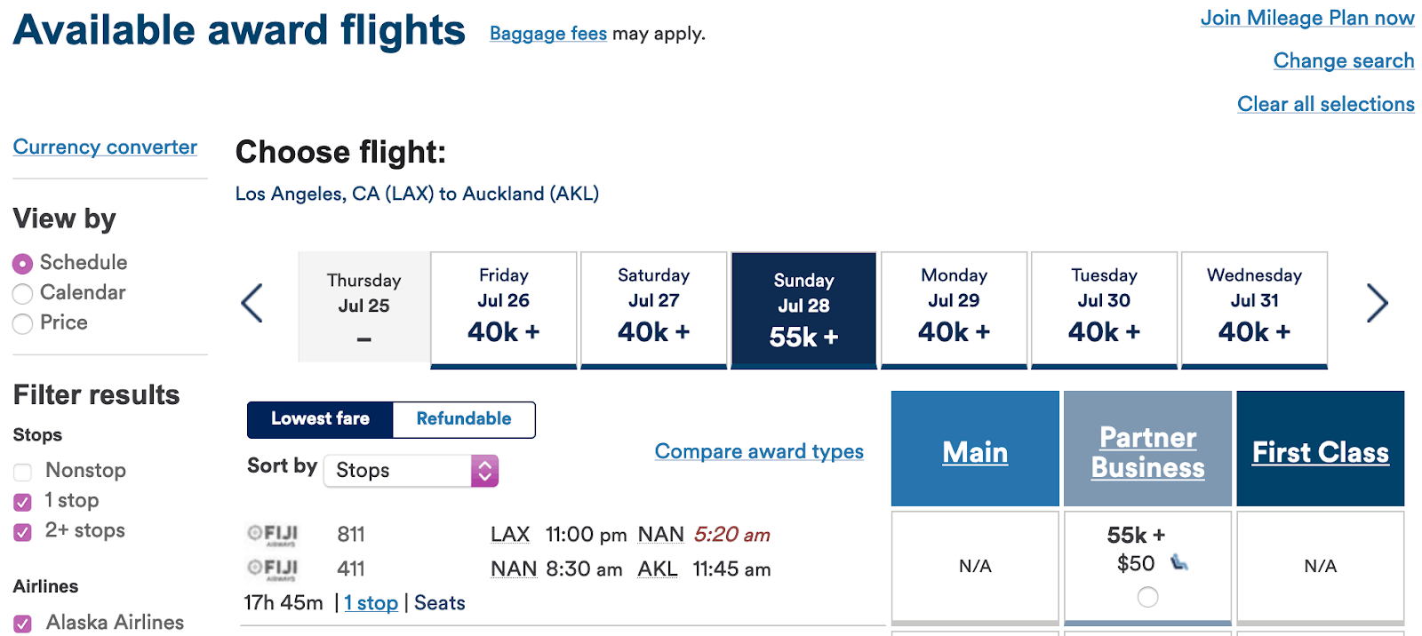 How to book Fiji Airways flights with Alaska Airlines Mileage Plan miles