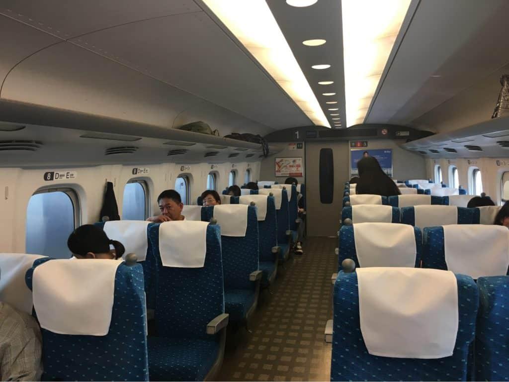 Shinkansen train seats