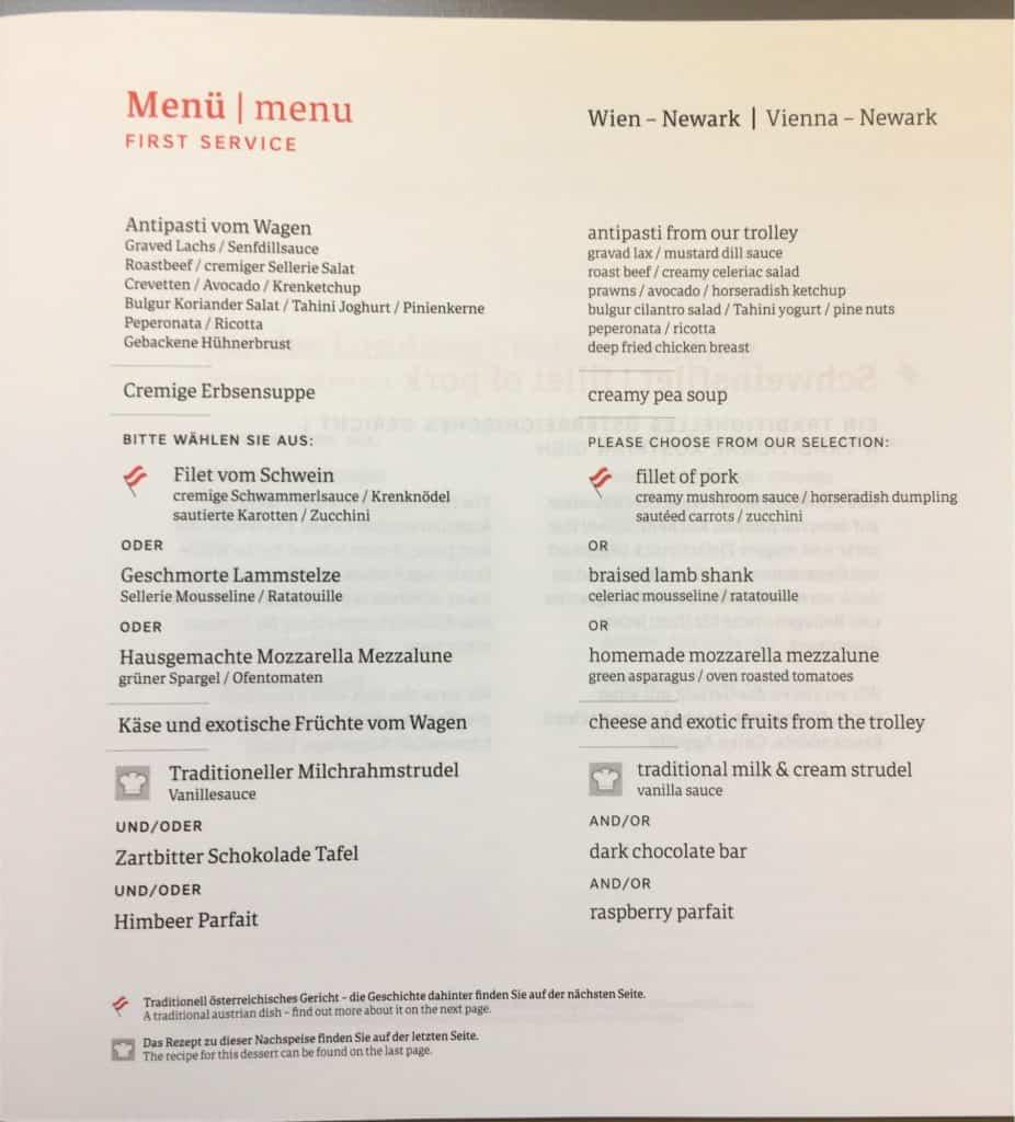 austrian airlines business class menu - First Service