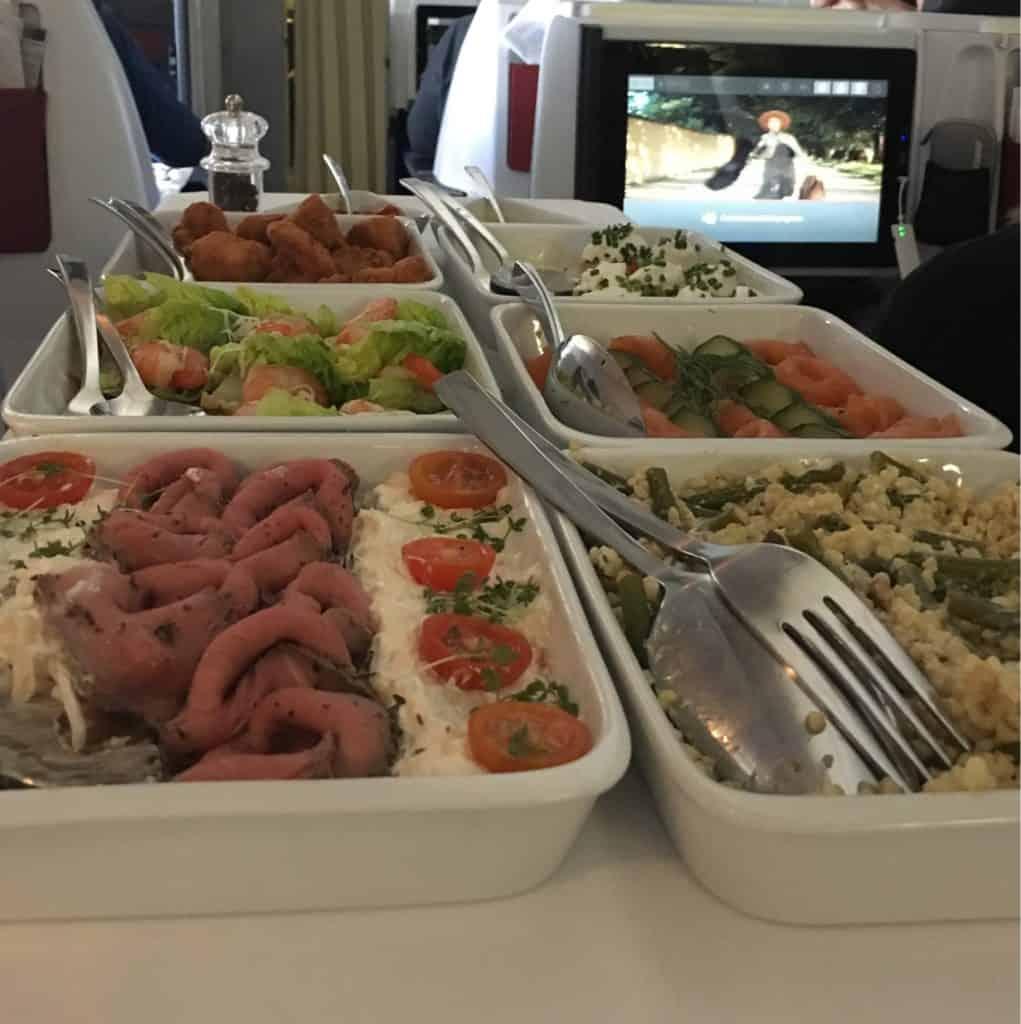 austrian airlines business class menu - Lunch Service