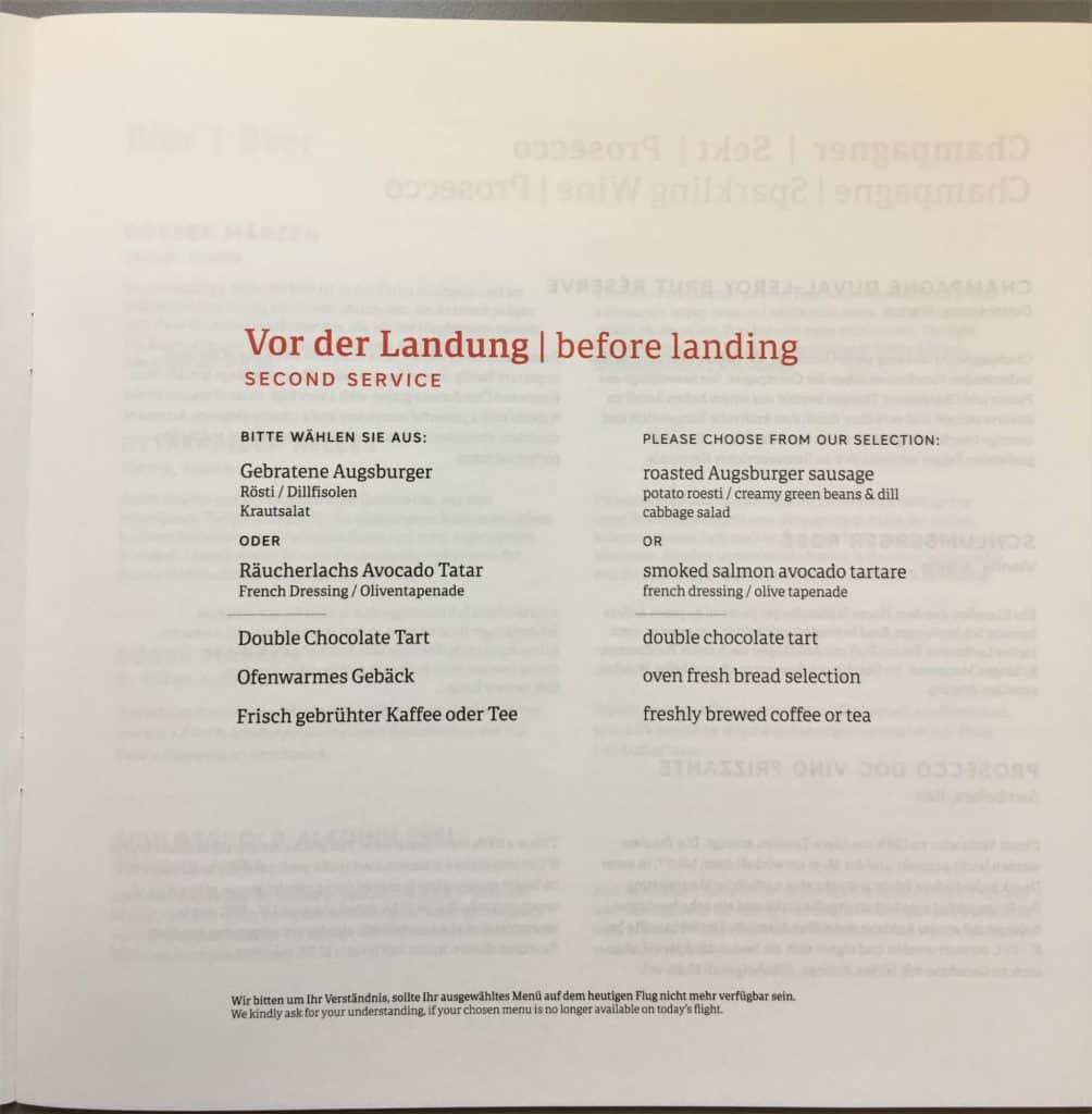 austrian airlines menu-before landing-second service