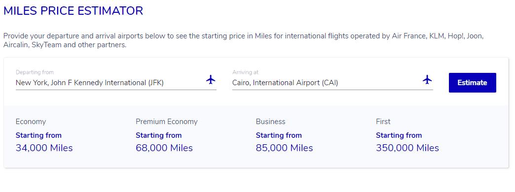 Flying Blue Miles Estimator