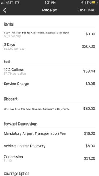 silvercar receipt