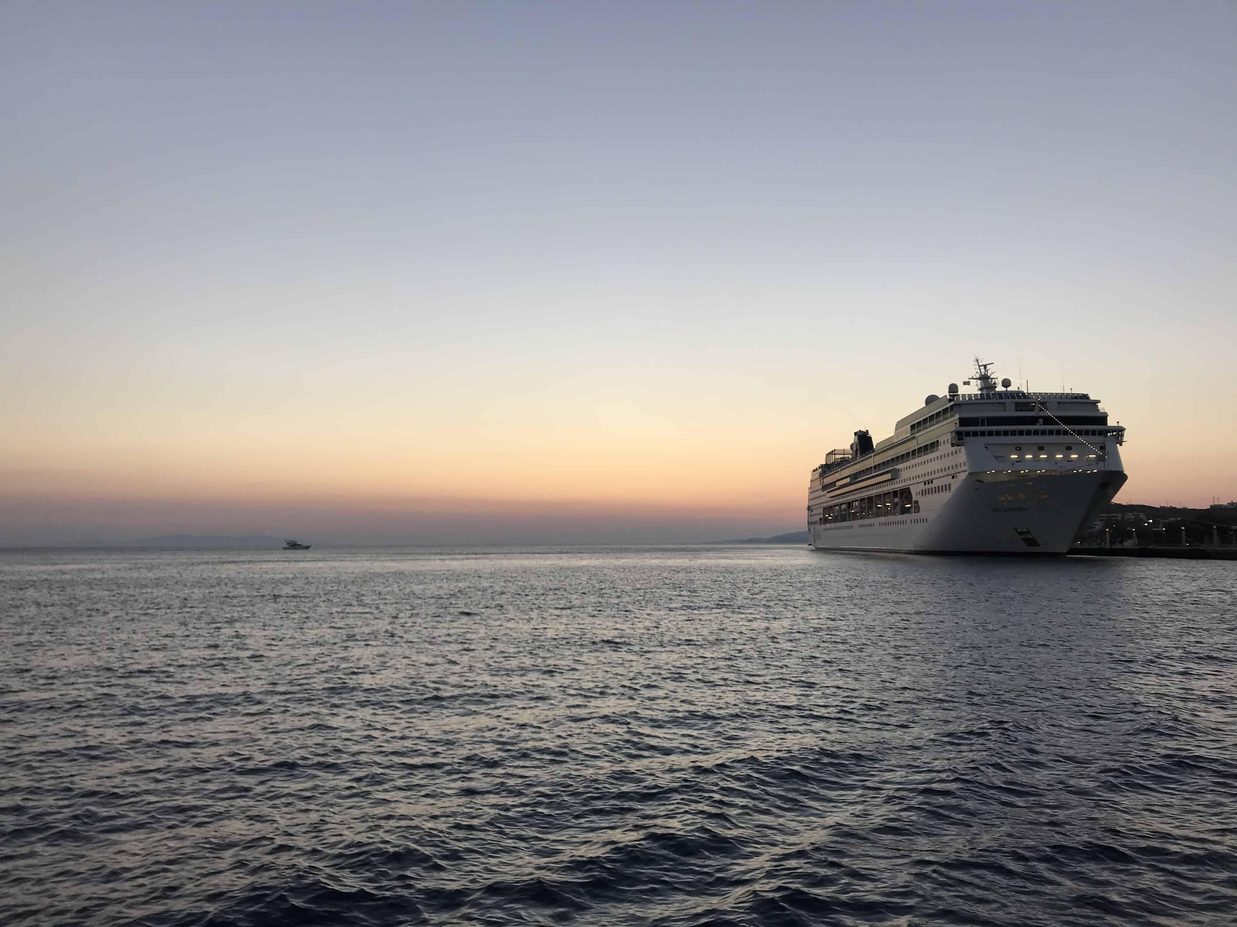 luxury cruise vacation-Mykonos by sunset