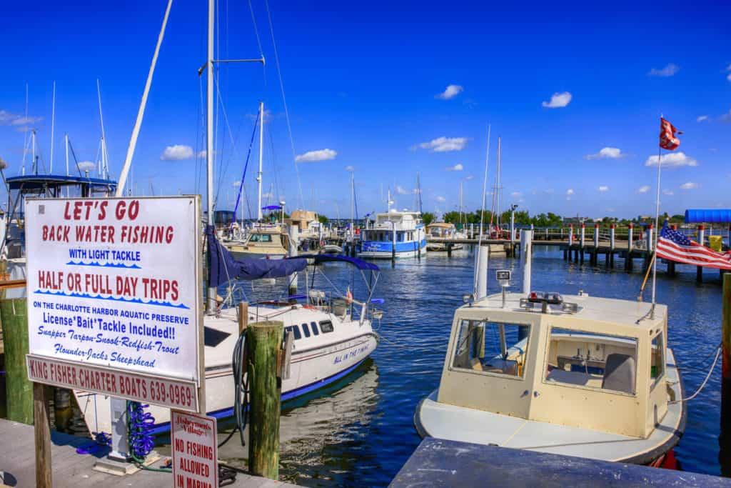 Boats in Fisherman's Village yacht basin in Punta Gorda, Florida