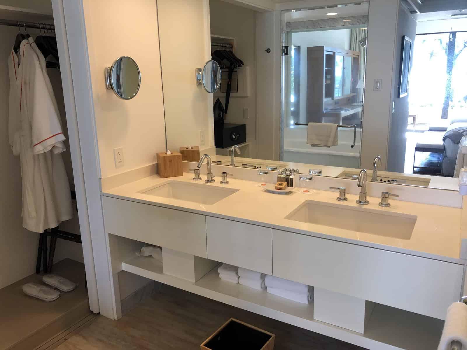 bathroom double sinks and closet