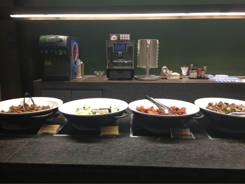 Food counter at Asiana Lounge
