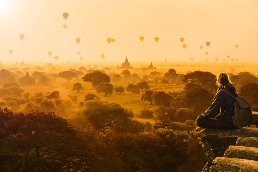 travel destinations-Hot air balloons in Bagan, Myanmar