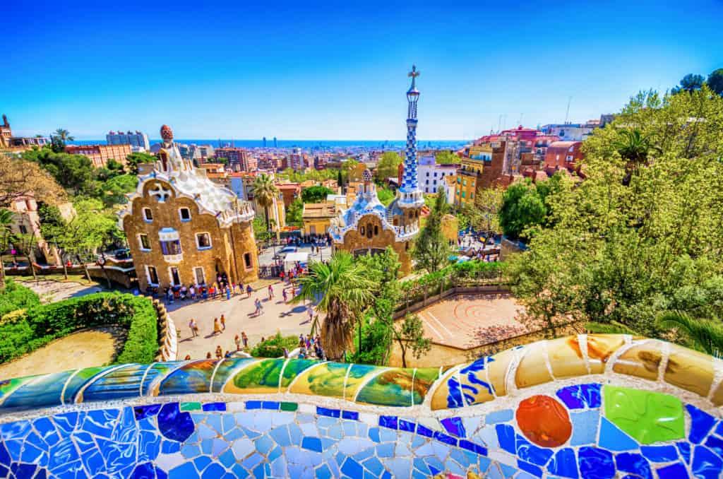 travel destinations-Parc guell antoni gaudi barcelona mosaic bank bench