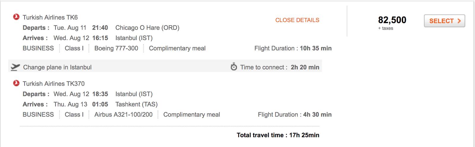 02. U.S. to Tashkent with Aeroplan