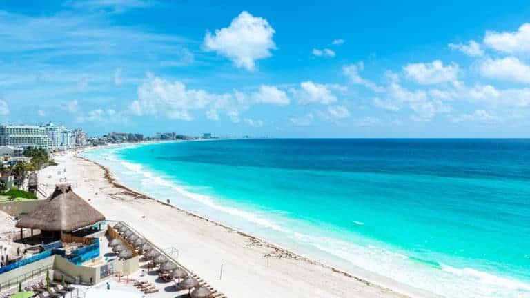 Aerial View of the tropical Caribbean beach
