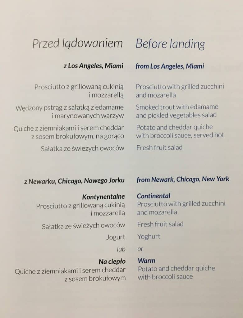 LOT Business Class Cabin-Inflight menu-before landing