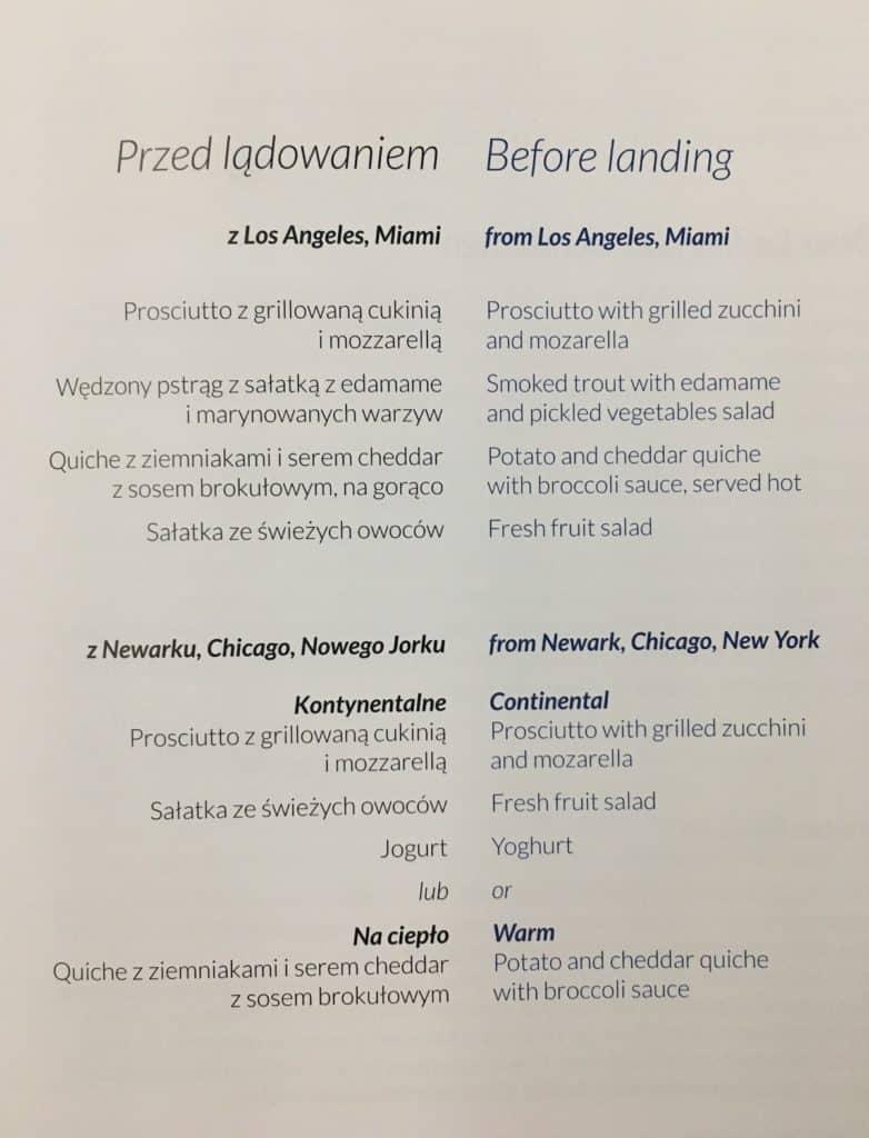 LOT Business Class Cabin-Inflight menu-before landing