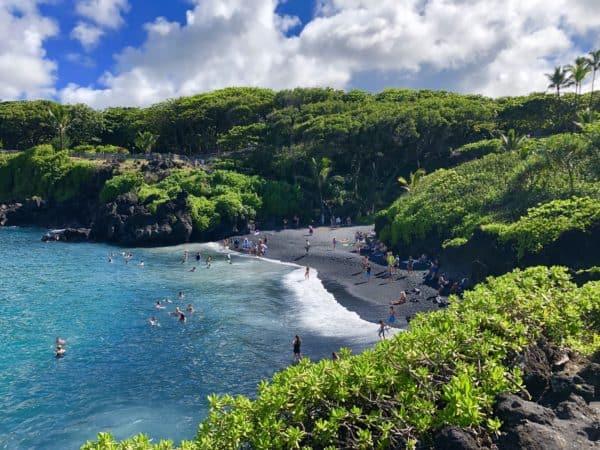 Black beach on the Road to Hana