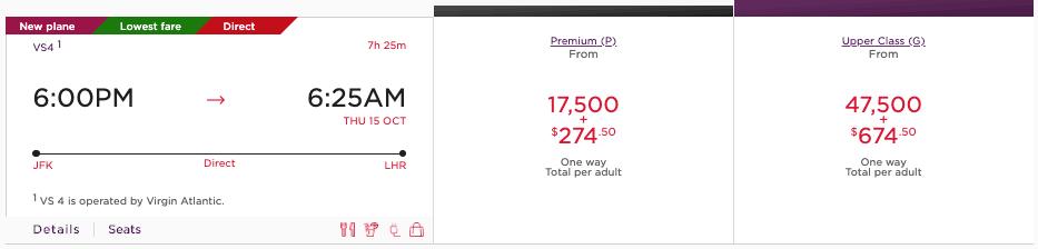 Virgin Atlantic Flying Club Premium Economy Example