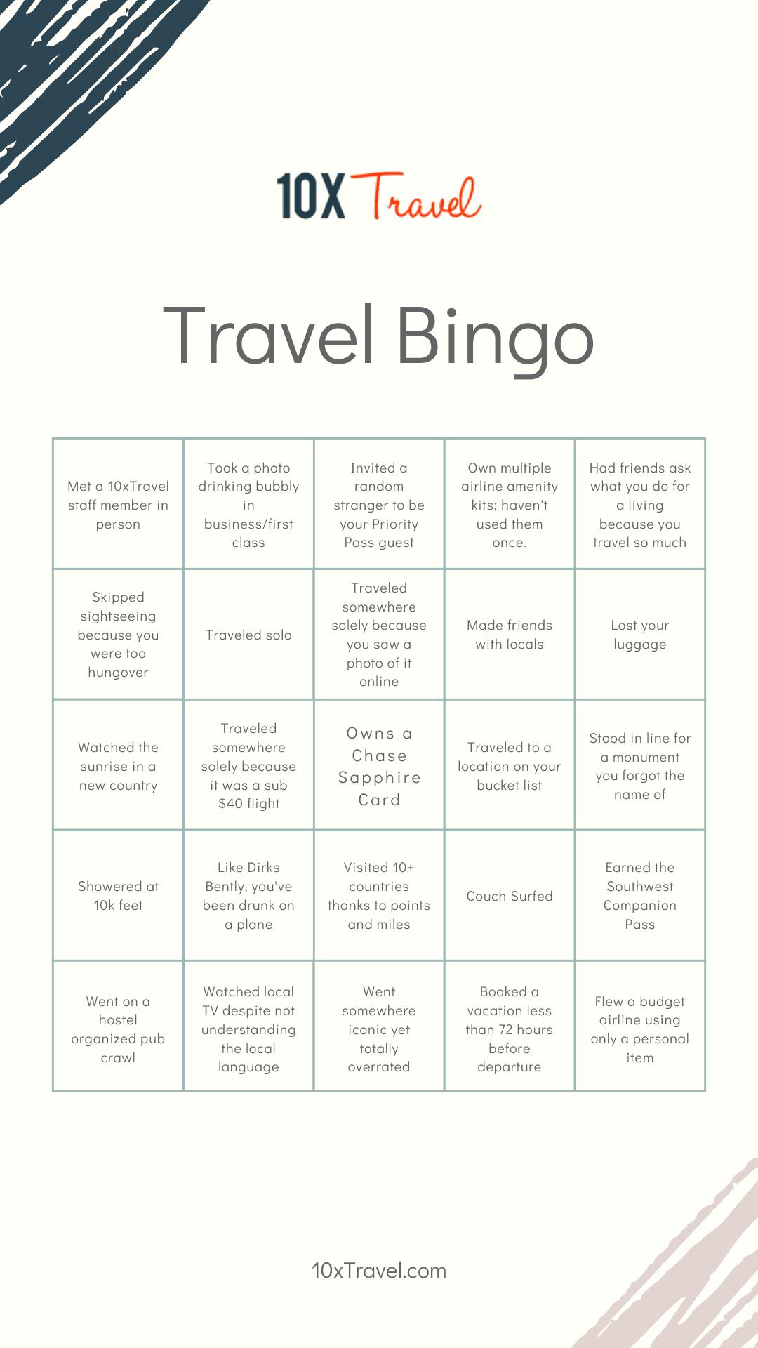 10xTravel bingo card
