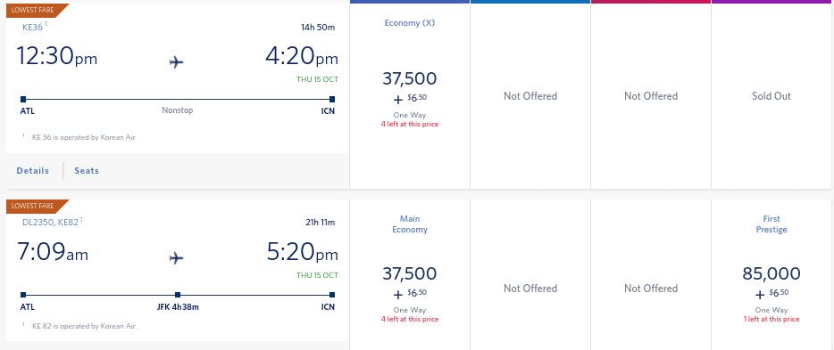 Delta Skymiles to South Korea