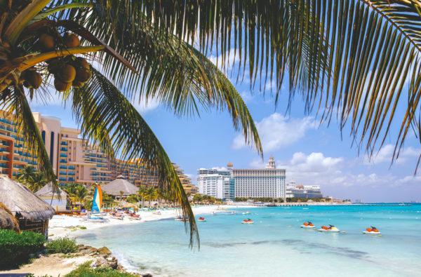 Cancun beach with hotels