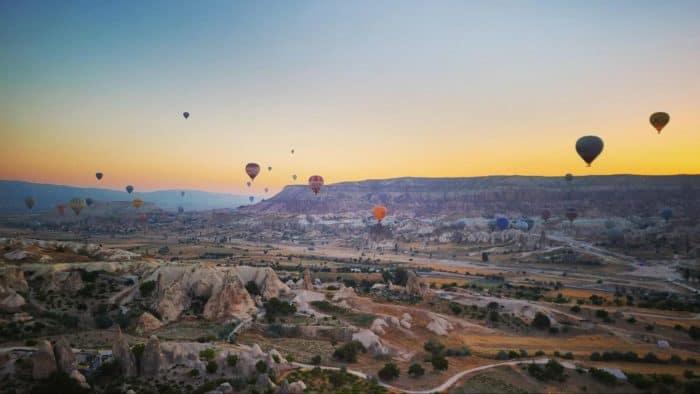 Hot-air-balloons-soar-above-Goreme-Cappadocia-2