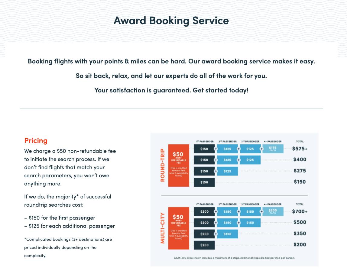 award booking service