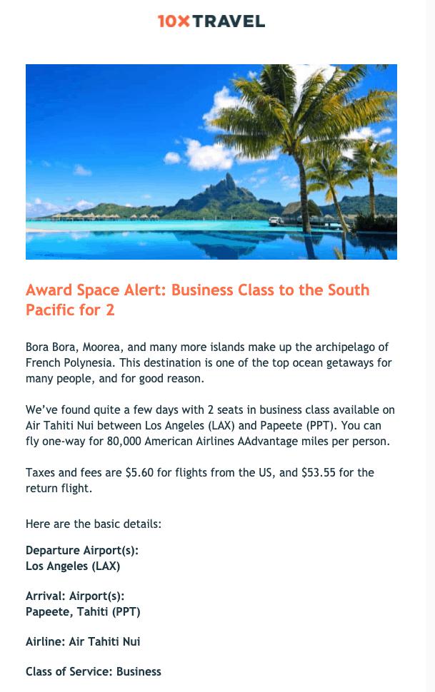 award space alert biz class south pacific