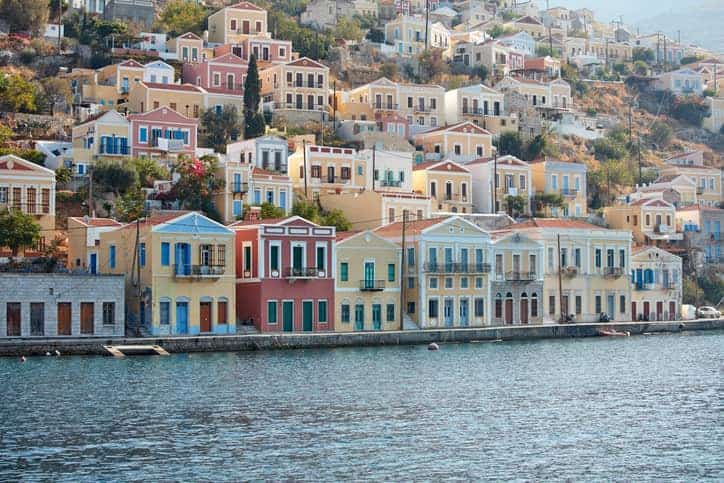 Colorful building in Symi Greek Island