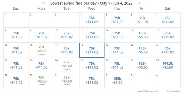 lowest award fare