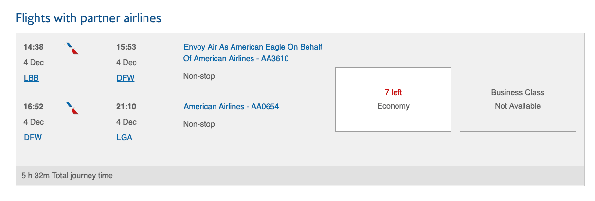 finding award availability american airlines using British airways